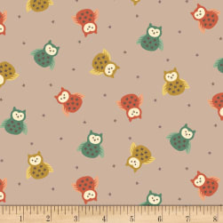 Henry Glass Flannel Bumble Garden Tossed Owls Gray