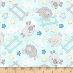 Henry Glass Flannel Sleepy Bear Jumping Sheep Blue