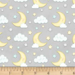 Henry Glass Flannel Sleepy Bear Moon & Clouds
