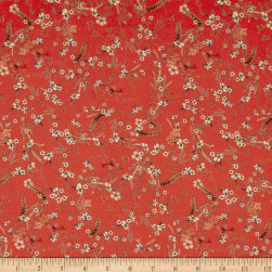 Preview Textiles Bright Flowers Crepe Georgette Red Fabric