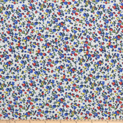 Petite Flower Rayon Challis Floral White Fabric