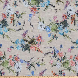 Preview Textiles Unfinished Flowers Pebbled Stretch Crepe Floral
