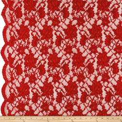 Chantilly Lace Double Boarder Dark Red Fabric