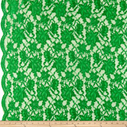 Chantilly Lace Double Boarder Green Fabric