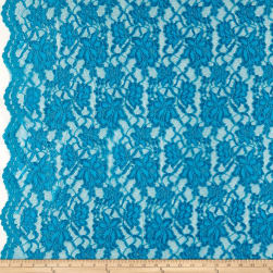 Chantilly Lace Double Boarder Turquoise Fabric