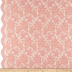 Chantilly Lace Double Boarder Peach Fabric