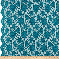 Chantilly Lace Double Boarder Teal Fabric