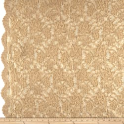 Chantilly Lace Double Boarder Dark Champagne Fabric