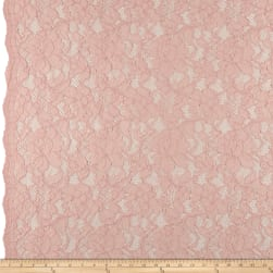 Heavy Corded Chantilly Lace Blush Pink Fabric
