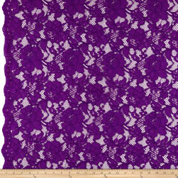 Heavy Corded Chantilly Lace Jewel Purple Fabric