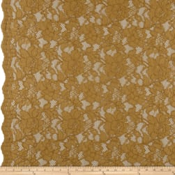 Heavy Corded Chantilly Lace Dark Gold Fabric
