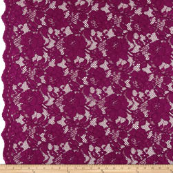Heavy Corded Chantilly Lace Dark Magenta Fabric