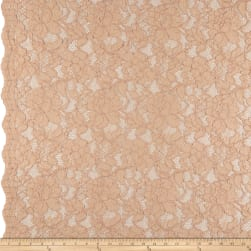 Heavy Corded Chantilly Lace Blush Fabric