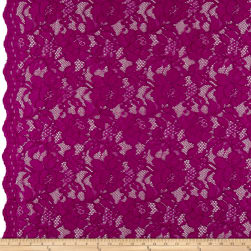 Heavy Corded Chantilly Lace Magenta