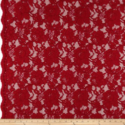 Heavy Corded Chantilly Lace Red Fabric