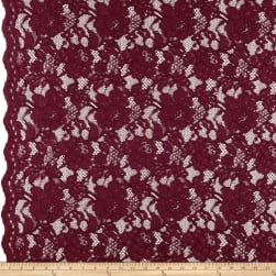Heavy Corded Chantilly Lace Burgundy Fabric