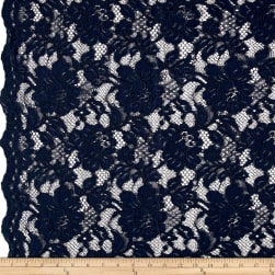 Chantilly Lace Double Boarder Dark Navy Fabric