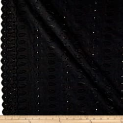 Heavy Cotton Eyelet Black Fabric
