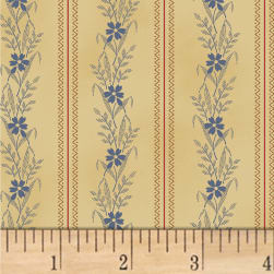 Nancy Gere Shiloh C.1880 Wheat Stripe Blue Fabric