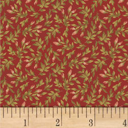Nancy Gere Shiloh C.1880 Floral Buds Red Fabric