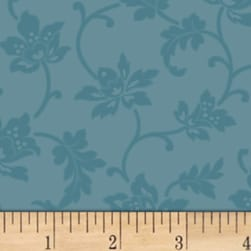 Mary Koval Colorwall Jacobean Flower Niagara Blue Fabric