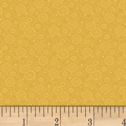 Mary Koval Colorwall Circle Flowers Amber Gold Fabric