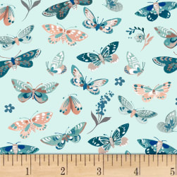 Clare Theresa Gray Birdsong Butterflies Aqua Fabric