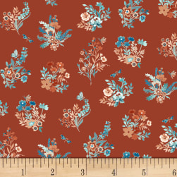 Clare Theresa Gray Birdsong Bouquet Russet Fabric