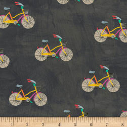 Carrie Bloomston Wonder Little Bikes Charcoal Fabric