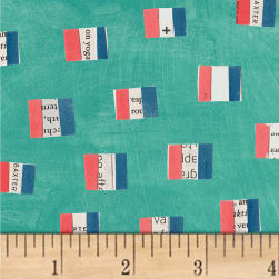 Carrie Bloomston Wonder French Flags Aqua Fabric