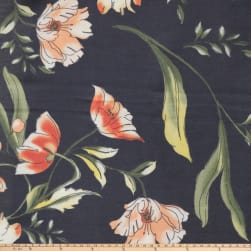 Preview Textiles Water Color Flower Georgette Floral Navy
