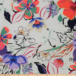 Preview Textiles Vibrant Flowers Crepe Floral White Fabric