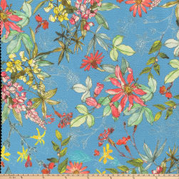 Botanical Garden Pebbled Stretch Crepe Floral Navy Fabric