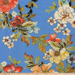 Preview Textiles Pollinated Roses Crepe Floral Sky Fabric