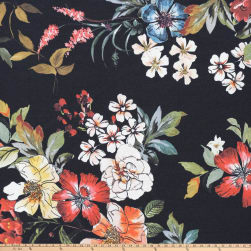 Preview Textiles Pollinated Roses Crepe Floral Black Fabric