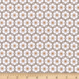 Kaufman Fleurie Flannel Allover Flowers Taupe Fabric