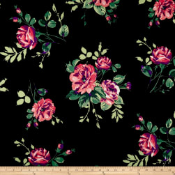 Techno Scuba Knit Floral Bouquet Berry Fabric