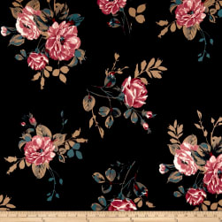 Techno Scuba Knit Floral Bouquet Mauve/Black Fabric