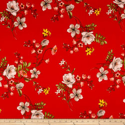 Techno Scuba Knit Floral Garden Red/Taupe Fabric