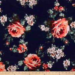 Techno Scuba Knit English Roses Coral/Navy Fabric