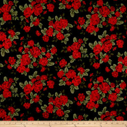 Techno Scuba Knit English Roses Black/Red Fabric