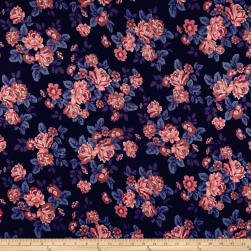 Techno Scuba Knit English Roses Pink/Blue Fabric