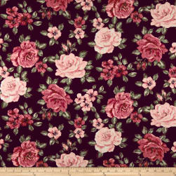 Techno Scuba Knit Roses Burgundy/Rose Fabric