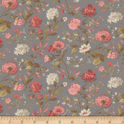 Faye Burgos Impromptu Mix Field Flowers Gray Fabric