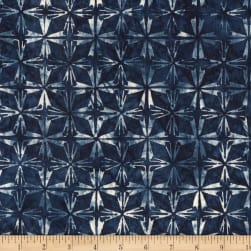 Kim Eichler-Messmer Imbue Batiks Diamond Flower Indigo Fabric