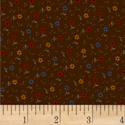 Pam Buda Primitive Threads Tossed Star Flowers Brown