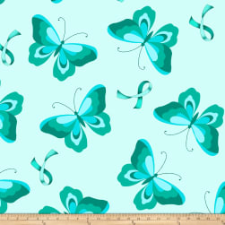 Ovarian Cancer Fleece Teal Ribbons And Butterflies Fabric