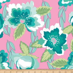 Riley Blake Blossoms Jersey Knit Pink Fabric