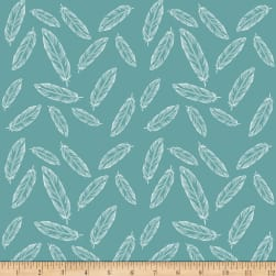 Riley Blake Jersey Knit Feathers Teal