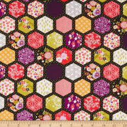 Andover/Makower UK Kimono Hexagon Patch Black Fabric